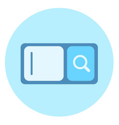 web search bar icon with magnifying glass on blue vector image vector image