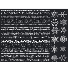 Winter snow seamless borderssnowflakes setChalk vector image vector image