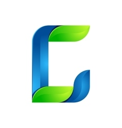 C letter leaves eco logo volume icon vector image