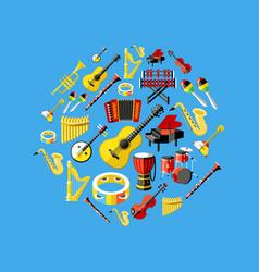 digital blue music instruments vector image