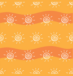 drawing sun on yellow and orange striped vector image vector image