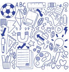 08-09-077 hand drawn set school icons vector