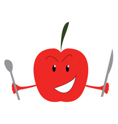 A crazy red apple is ready to feast with spoon vector