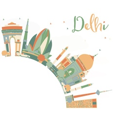 Abstract delhi skyline with color landmarks vector