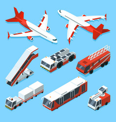 airplanes set and other support machines vector image