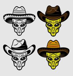 Alien heads in sombrero and cowboy hat set vector