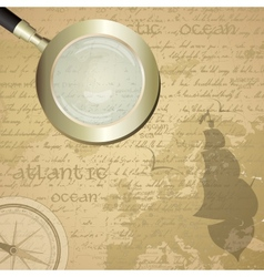 Antique sailor background with old grungy map and vector
