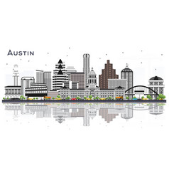 Austin texas city skyline with gray buildings and vector