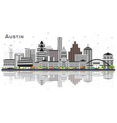 Austin texas city skyline with gray buildings vector