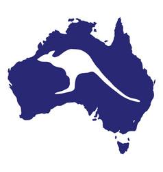 australia map with kangaroo silhouette vector image