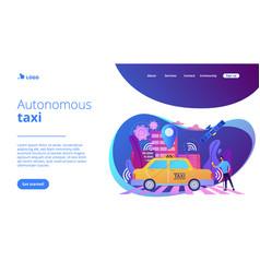 Autonomous taxi concept landing page vector