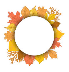 Autumn red and yellow leaves round frame vector