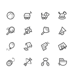 Baby toys black icon set on white background vector