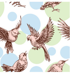 Birds seamless pattern over pastel dots background vector