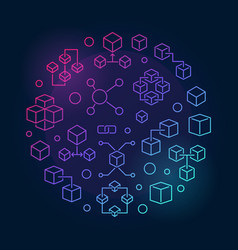 blockchain colorful line in vector image