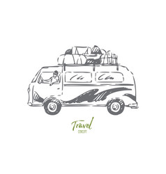 bus travel concept sketch isolated vector image