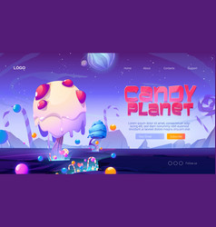 Candy planet cartoon landing page with sweets vector