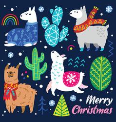 christmas llamas characters decorative cactuses vector image