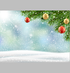 christmas tree branch winter landscape vector image