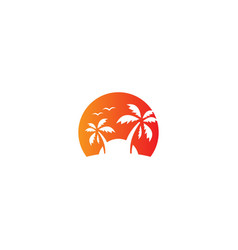 coconout tree beach tropic vacation logo vector image