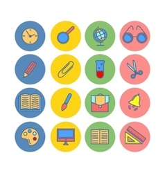 Color set of flat icons School supplies vector image vector image