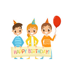 company of kids in party hats holding a happy vector image
