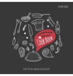 Cook book cover with hand drawn food vector