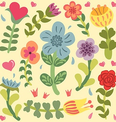 Cute doodle hand drawn flowers set vector image