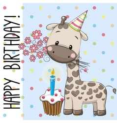 Cute Giraffe with cake vector