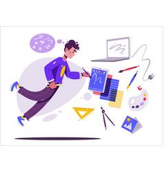 Designer character or digital artist vector