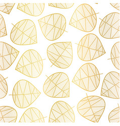 elegant gold foil scattered stylized leaf pattern vector image