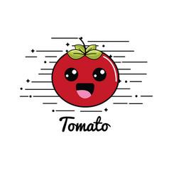Emblem kawaii shy tomato vegetable icon vector