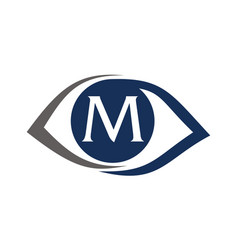 Eye care solutions letter m vector
