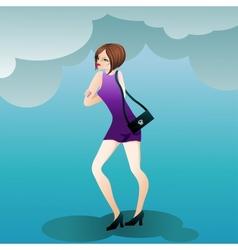 Fashion cute girl with a handbag vector image