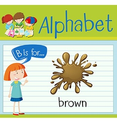 Flashcard letter B is for brown vector image