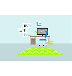 flat designer workplace concept vector image