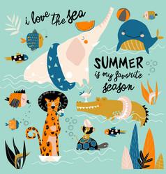 funny cartoon animals swimming in blue sea vector image