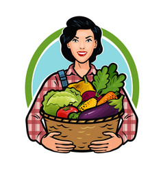 Girl or farmer holding a basket full of fresh vector