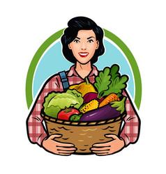 girl or farmer holding a basket full of fresh vector image