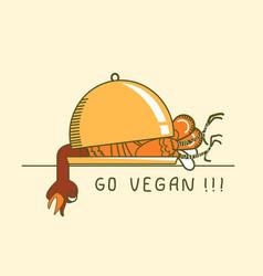 go vegan symbol thanksgiving turkey on holiday vector image