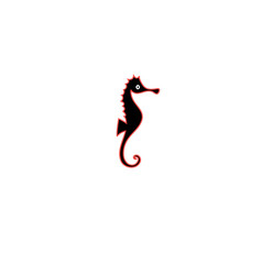 Graphics silhouette icon of sea horse vector