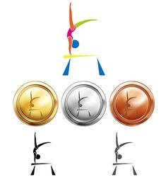 Gymnastics on balance bar and medals vector