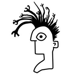 hair weird arms head cartoon vector image