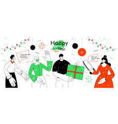happy new year and merry christmas - flat design vector image