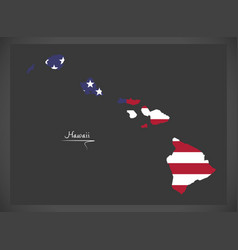 hawaii map with american national flag vector image