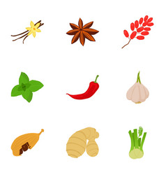 Herbage icons set cartoon style vector