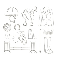 Horse riding set vector