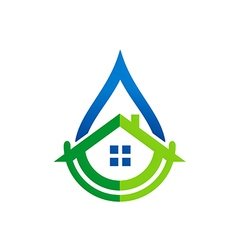 House water supply realty logo vector