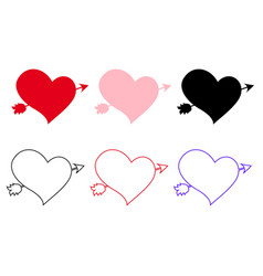 icons set of different hearts pierced with arrow vector image