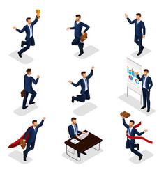 isometric 3d businessmen with different motion vector image